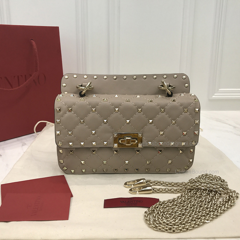 Valentino Rockstud Spike Mini Chain Bag in Nude Lambskin