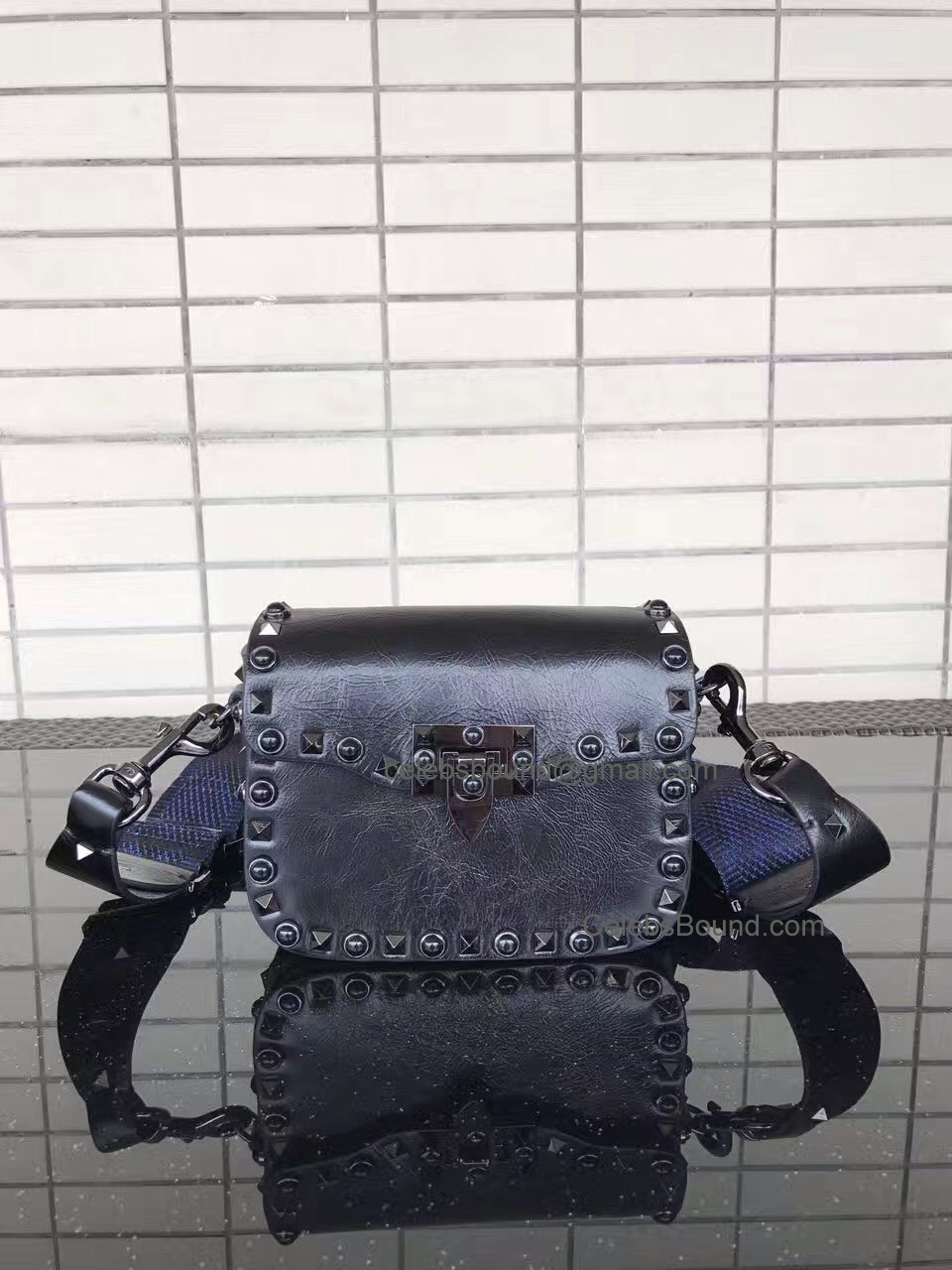 Valentino Garavani Small Guitar Rockstud Rolling Noir Cross Body Bag