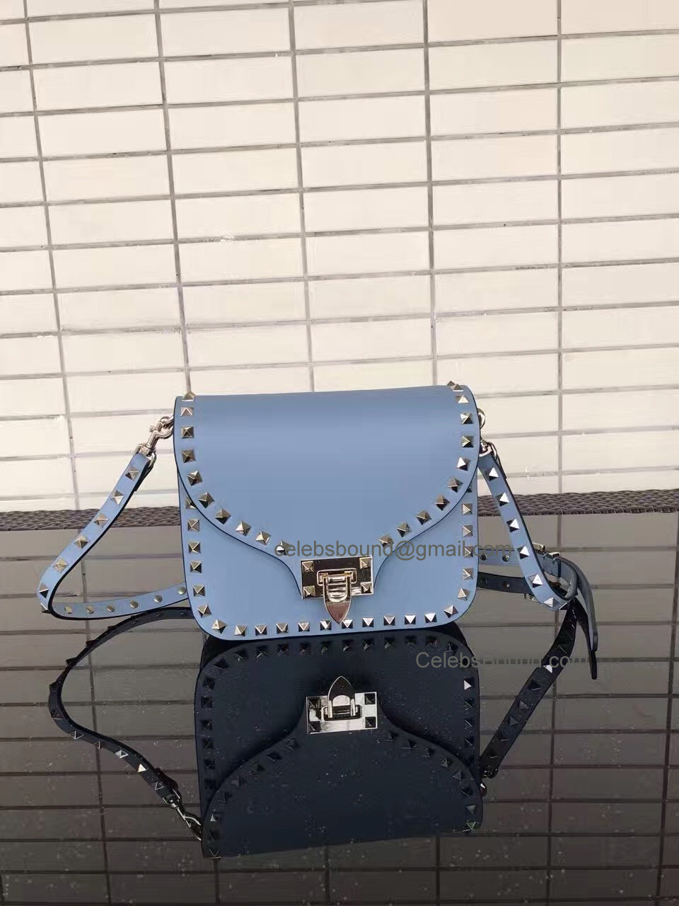 Valentino Rockstud Smooth Calfskin Cross Body Bag Ice Blue