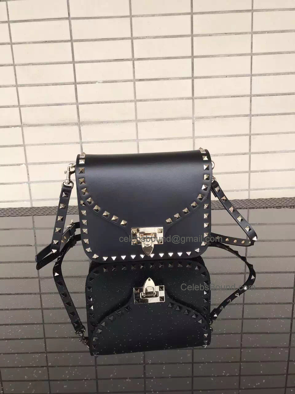 Valentino Rockstud Smooth Calfskin Cross Body Bag Black
