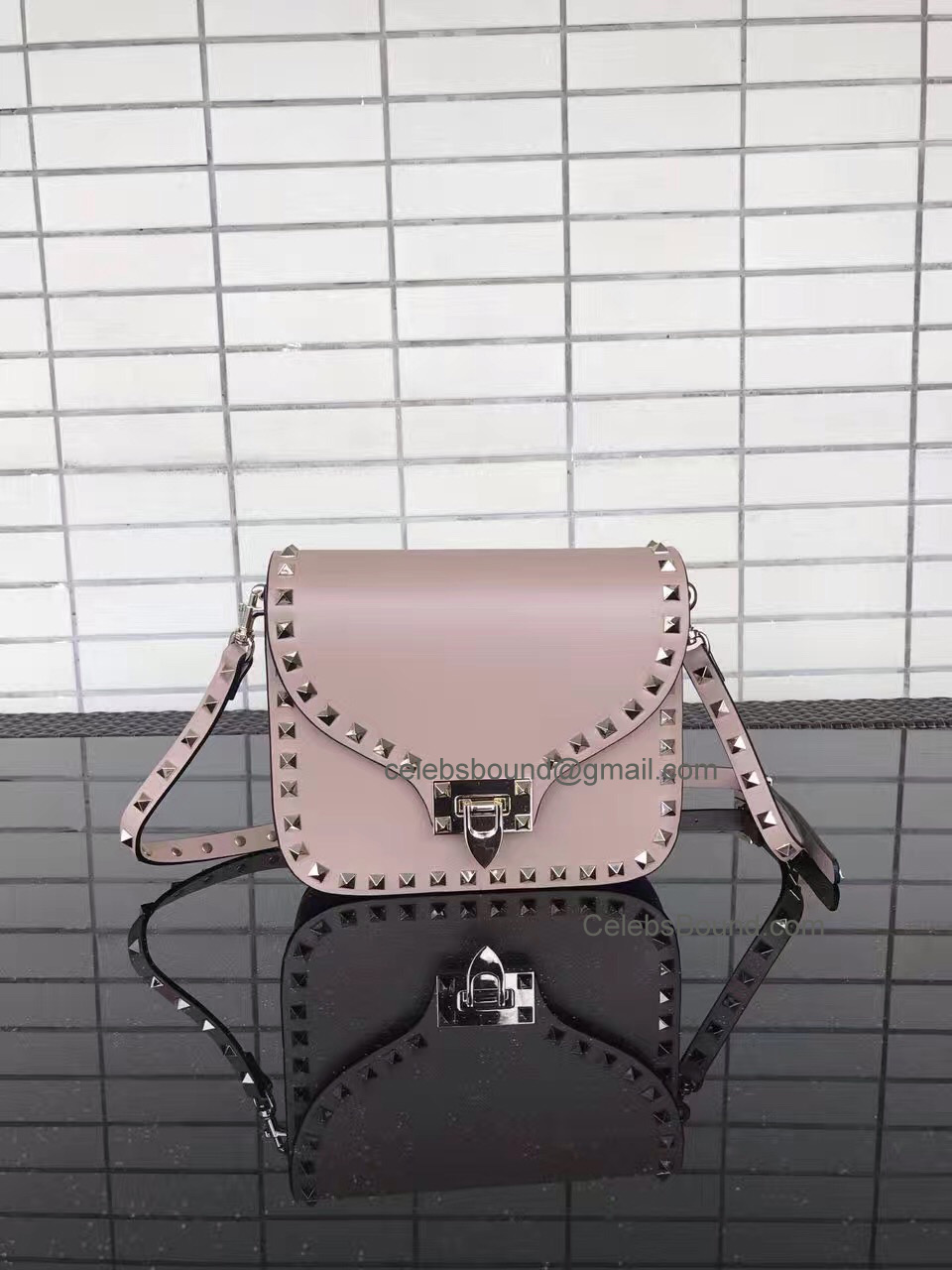 Valentino Rockstud Smooth Calfskin Cross Body Bag Skin Color