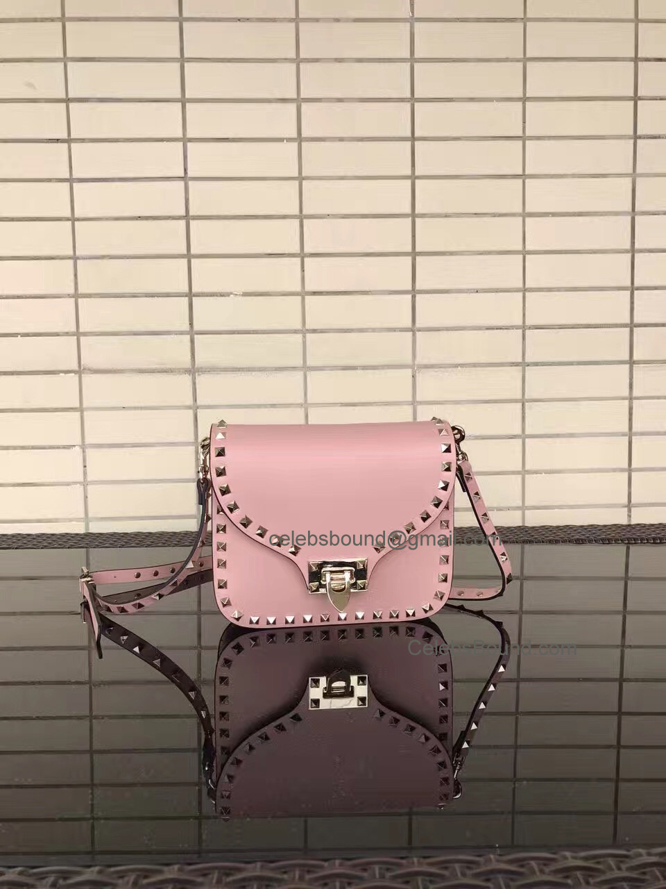Valentino Rockstud Smooth Calfskin Cross Body Bag Light Pink