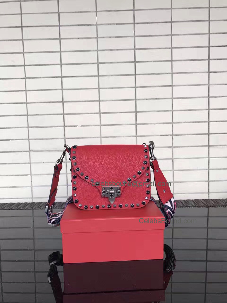 Replica Valentino Guitar Rockstud Rolling Red Grained Calfskin Cross Body Bag