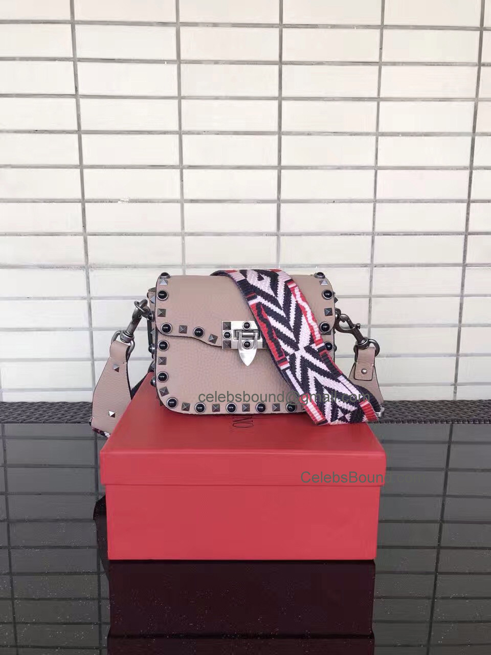 Replica Valentino Guitar Rockstud Rolling Skin Color Small Cross Body Bag