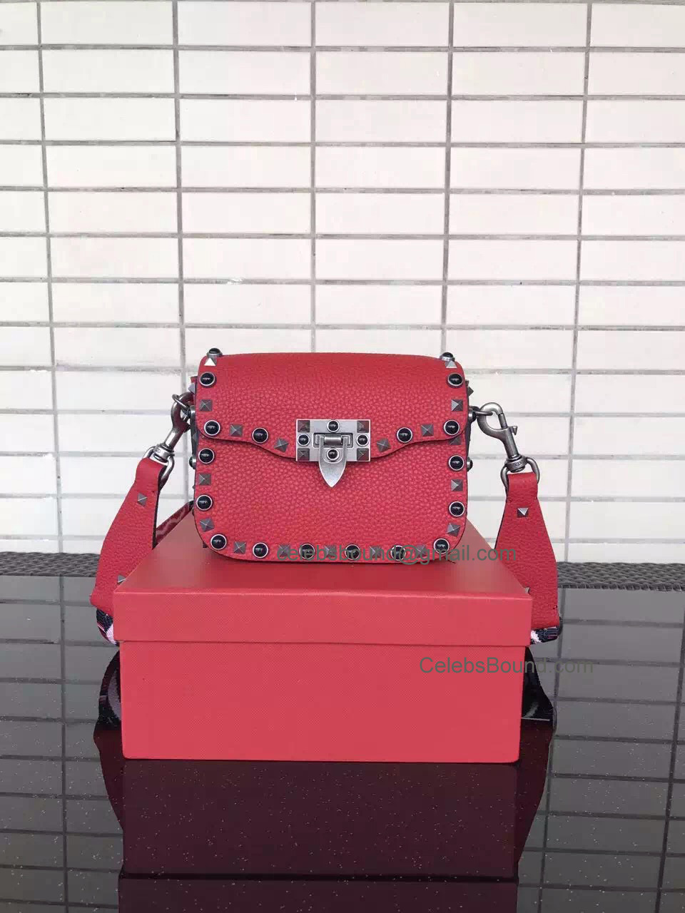Replica Valentino Guitar Rockstud Rolling Red Small Cross Body Bag