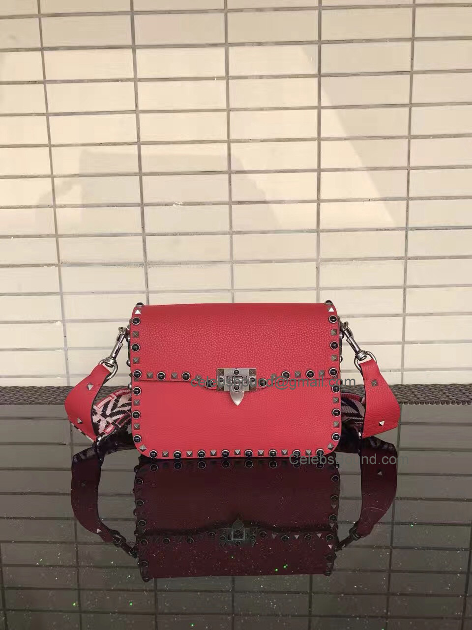 Replica Valentino Guitar Rockstud Rolling Red Medium Cross Body Bag