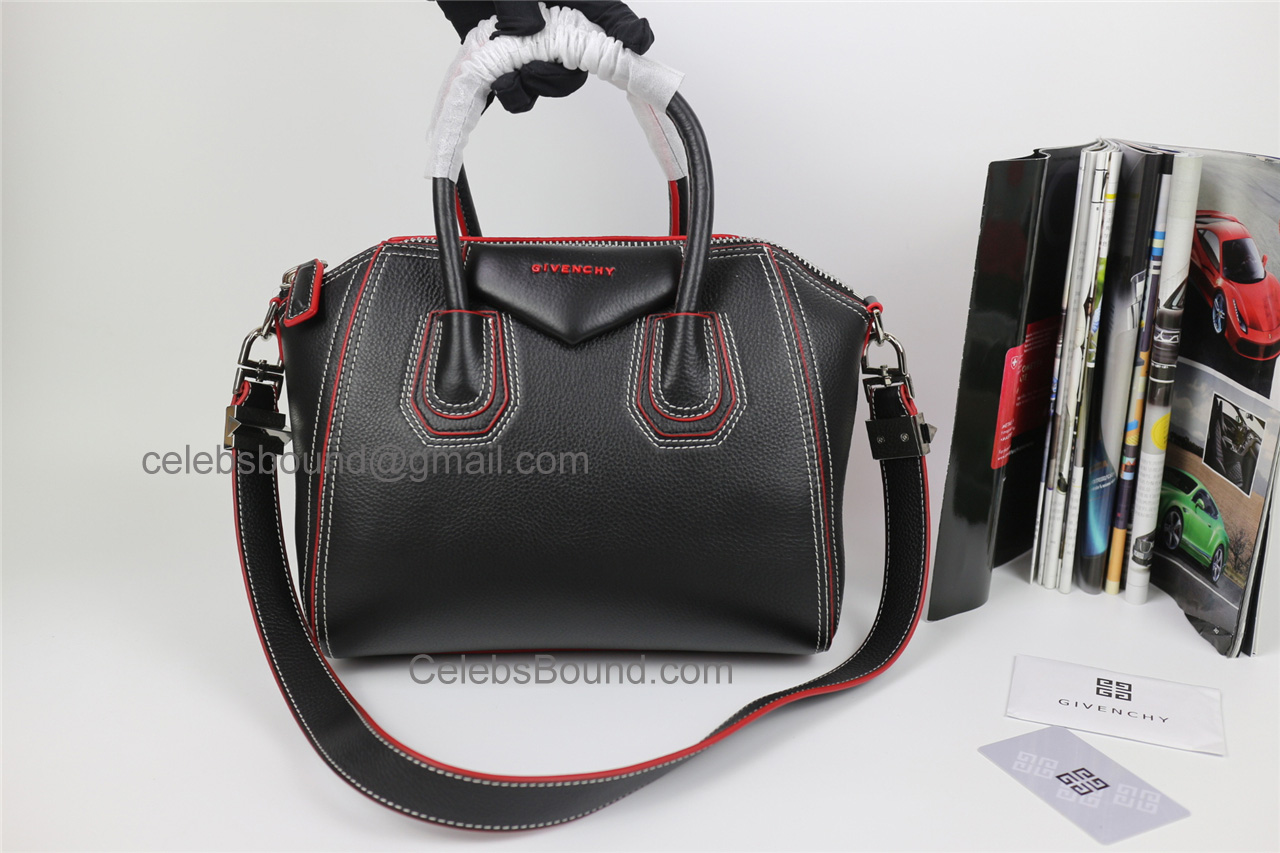 7c3a9a6e3d96 Replica Givenchy Antigona Black Lambskin Medium Bag with Red Piping -