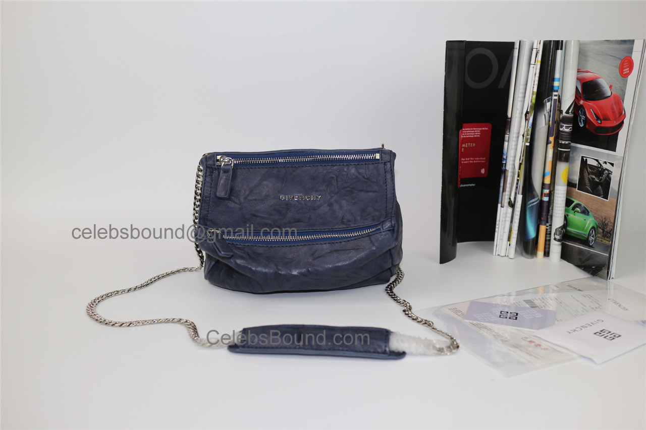 Replica Givenchy Pepe Pandora Navy Lambskin Small Bag