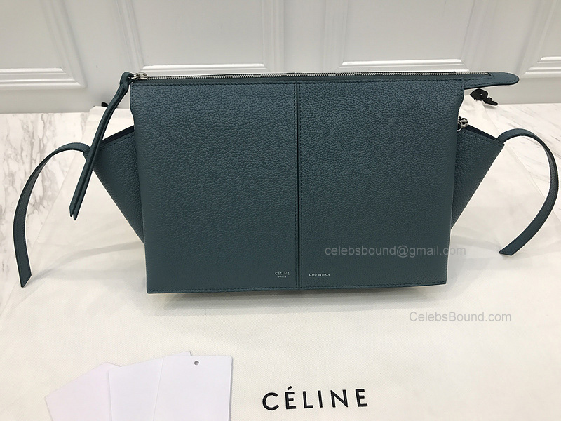 5a2834c7d Replica Celine Tri Fold Dark Green Grained Calfskin Clutch on Chain -