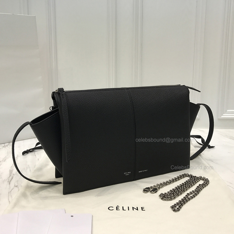 0b3d42e4cc754a Replica Celine Tri Fold Black Grained Calfskin Clutch on Chain -