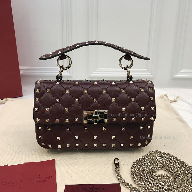 Valentino Rockstud Spike Mini Chain Bag in Burgundy Lambskin