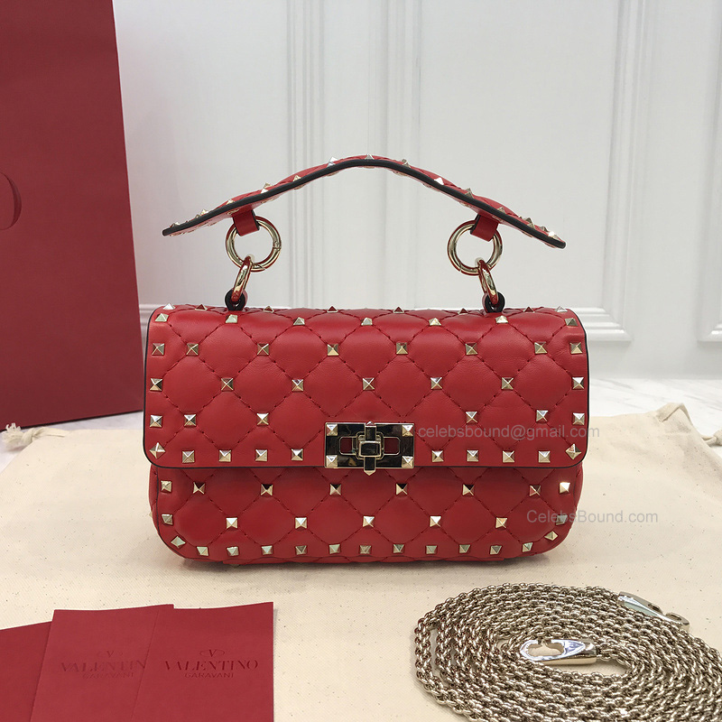 Valentino Rockstud Spike Mini Chain Bag in Red Lambskin