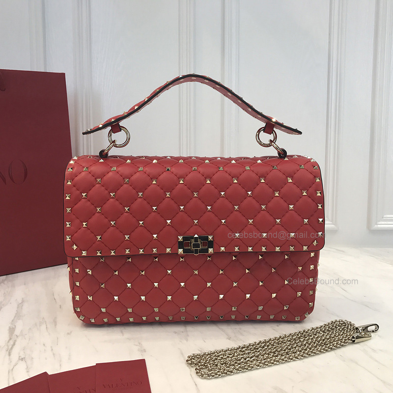 Valentino Rockstud Spike Medium Chain Bag in Red Lambskin