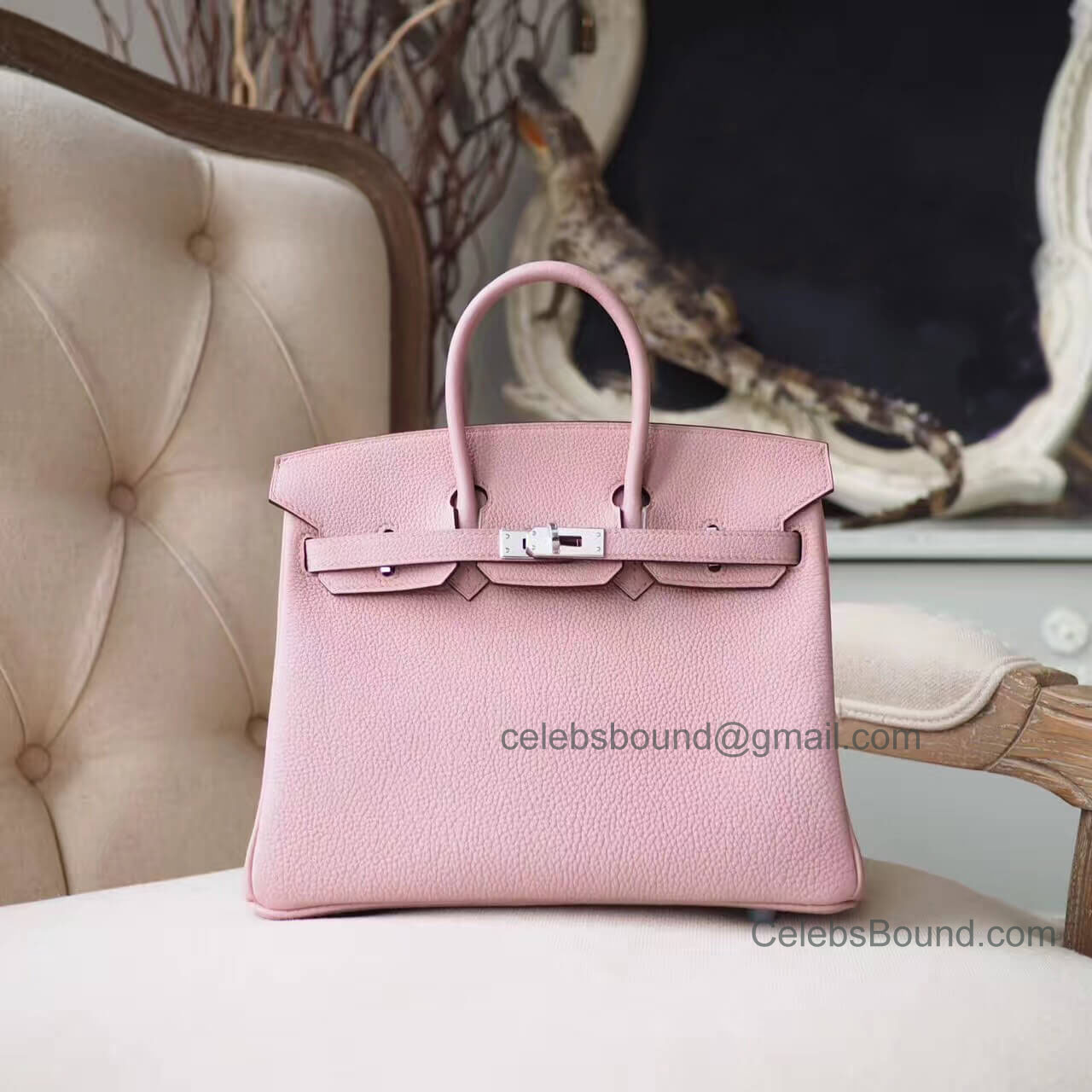 Hermes Birkin 25 Bag in 4w Glycine Togo PHW