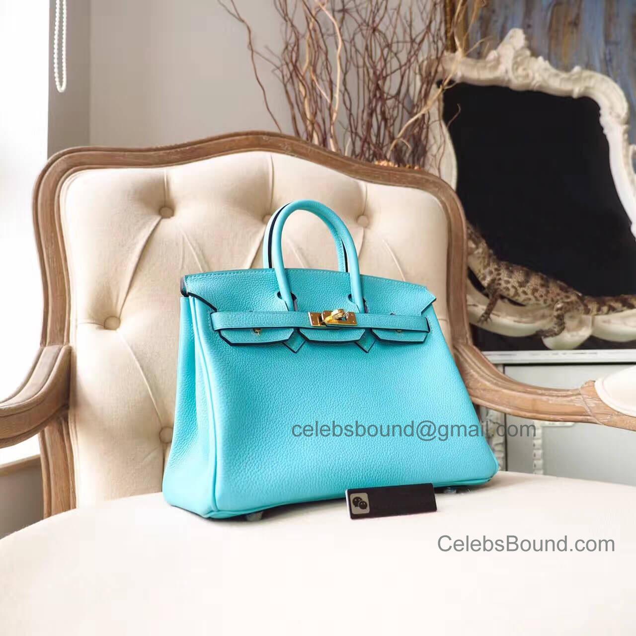 c4290ee15b Hermes Birkin 25 Bag in 3p Blue Atoll Togo GHW