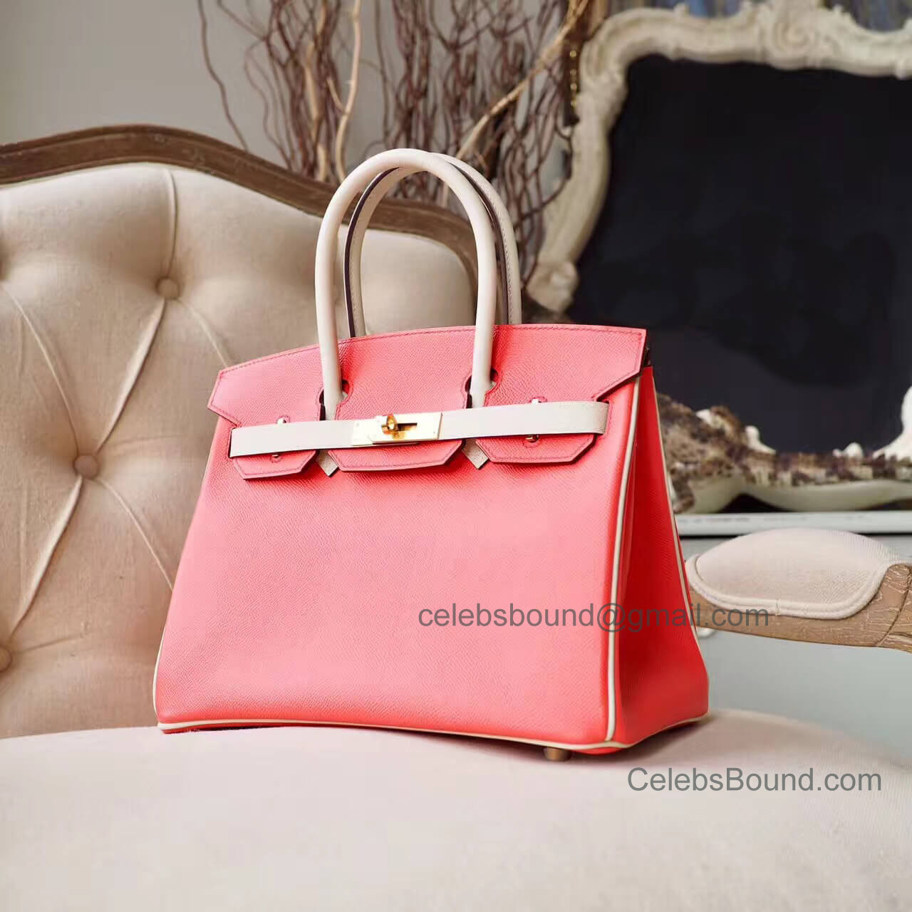 Hermes Birkin 30 Handbag in Bicolored t5 rose Jaipur Epsom GHW