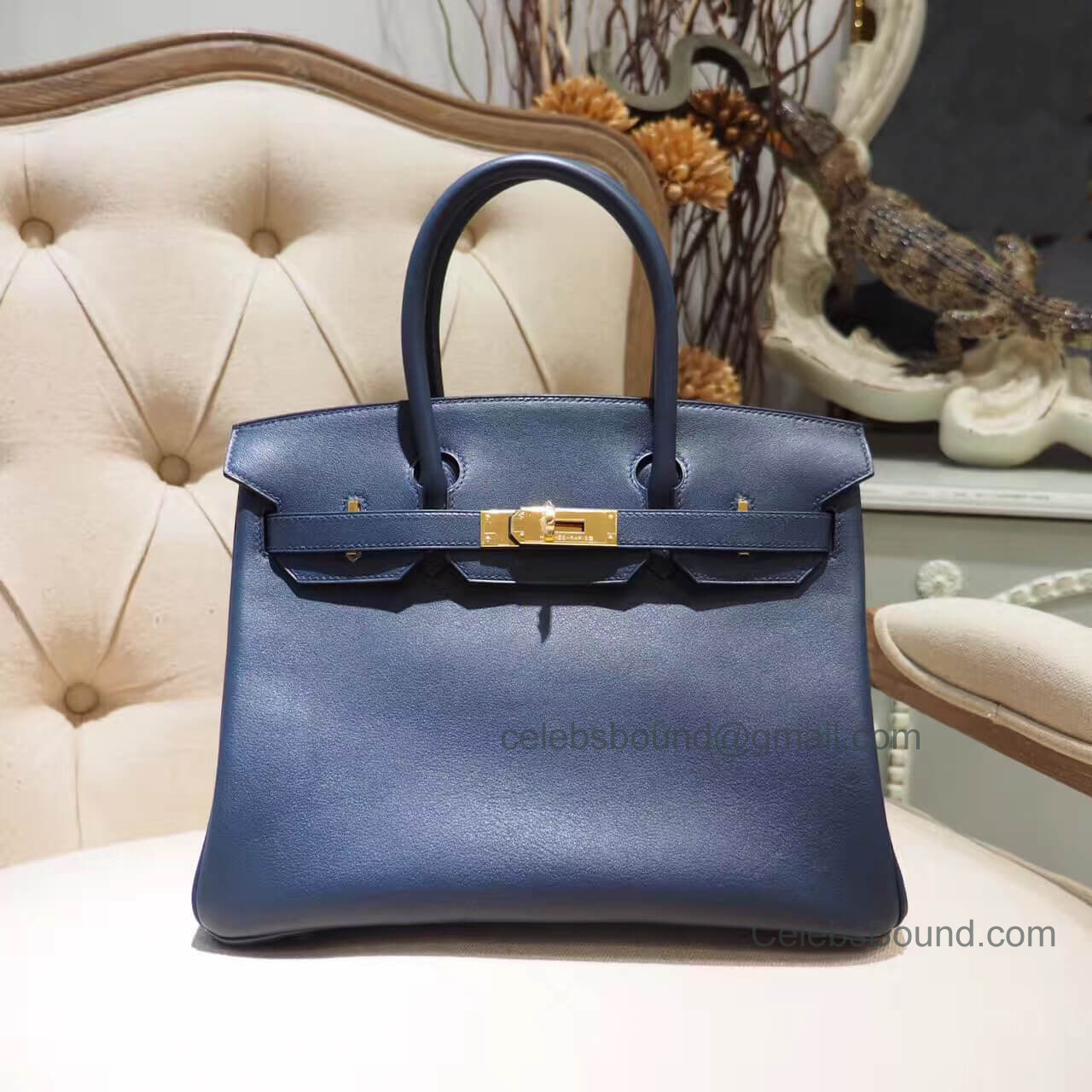 Hermes Birkin 30 Handbag in Bicolored 2z Blue Nuit Swift GHW