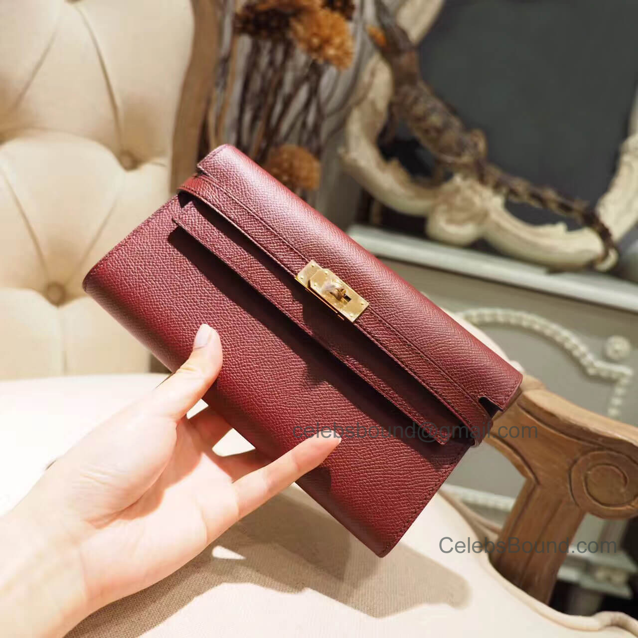 Hermes Kelly Cut 31 Clutch in ck55 Rouge H Epsom GHW