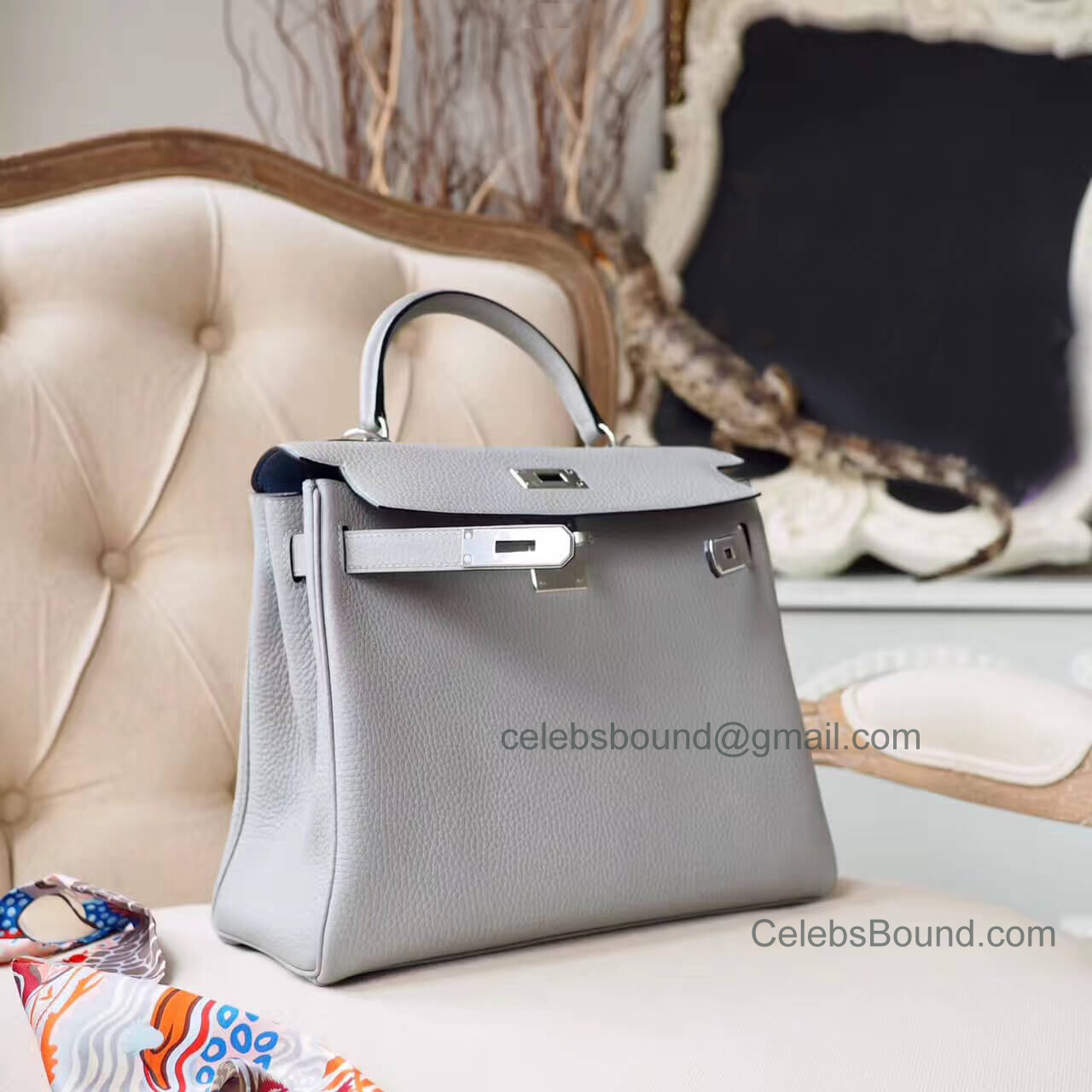 Hermes Kelly 28 Bag in Bicolored 4z Gris Mouette Togo PHW