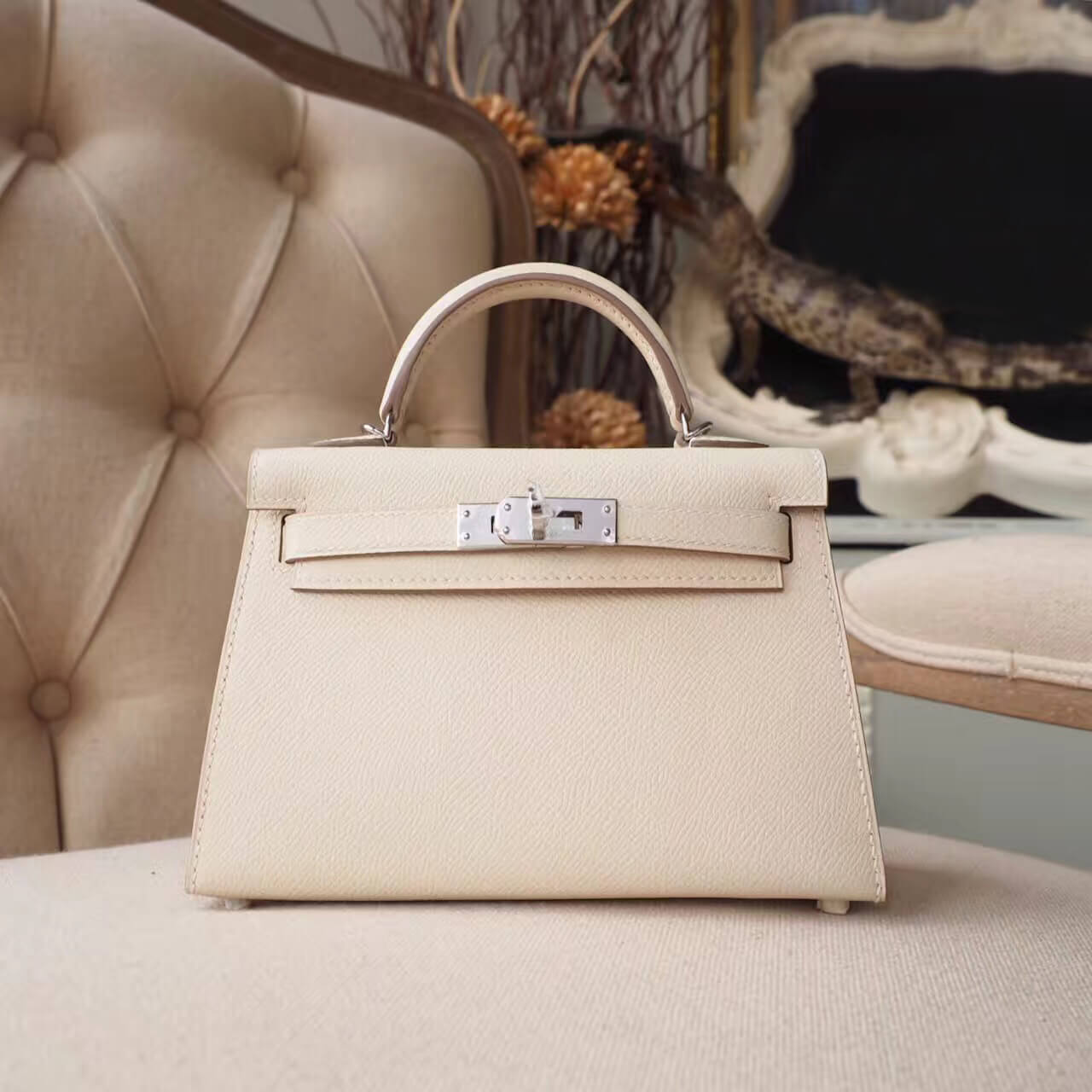 Hermes Mini Kelly 20 II Bag in ck10 Craie Epsom PHW
