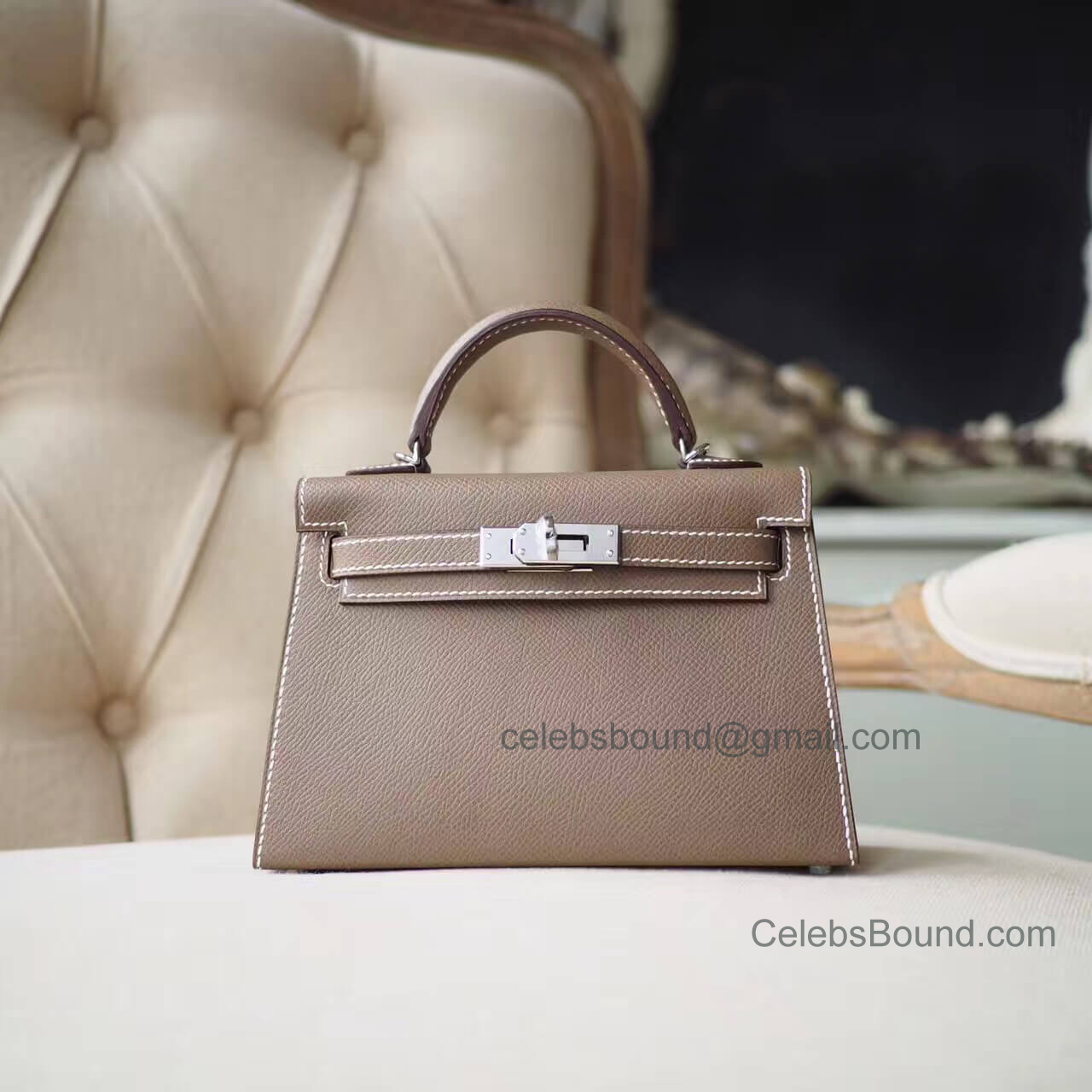Hermes Mini Kelly 20 II Bag in ck18 Etoupe Epsom PHW