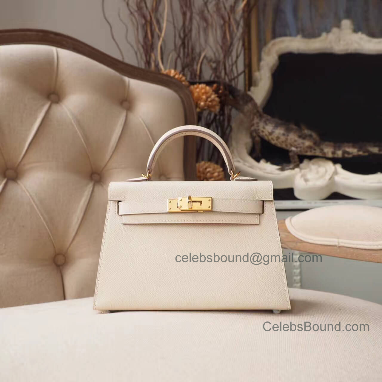 Hermes Mini Kelly 20 II Bag in ck10 Craie Epsom GHW