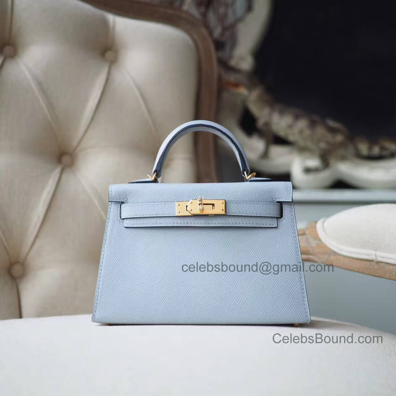 Hermes Mini Kelly 20 II Bag in 8u Blue Glacier Epsom GHW