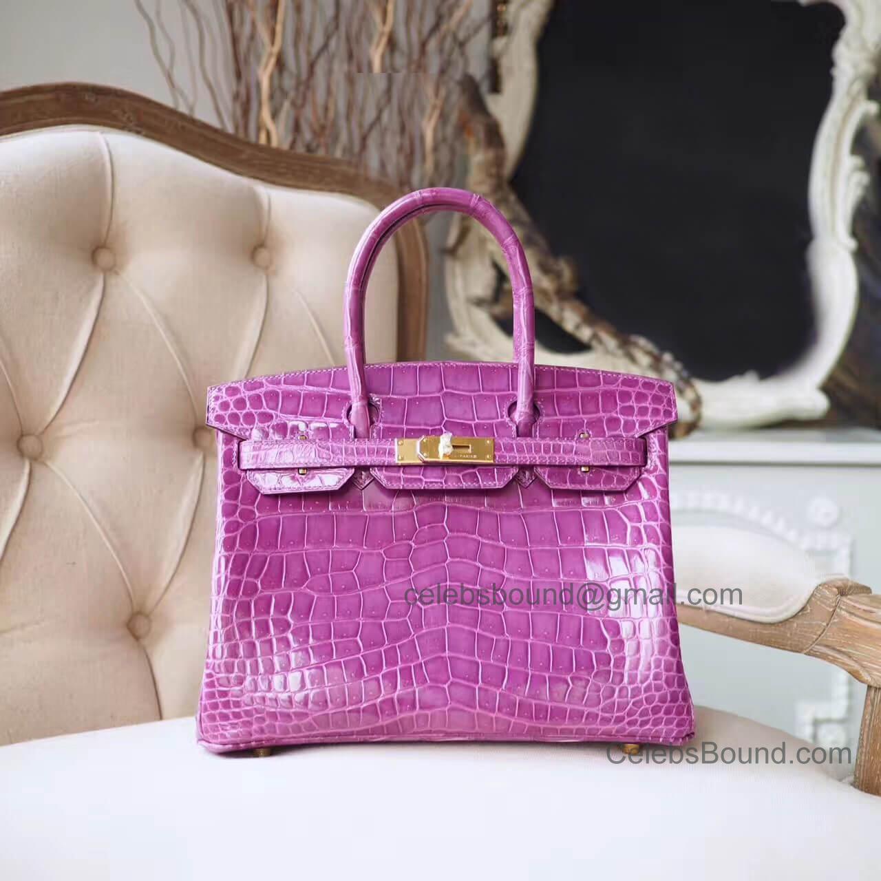 93fcf6edf9cc Copy Hermes Birkin 30 Bag in 5c Violet Shiny Porosus Croc GHW