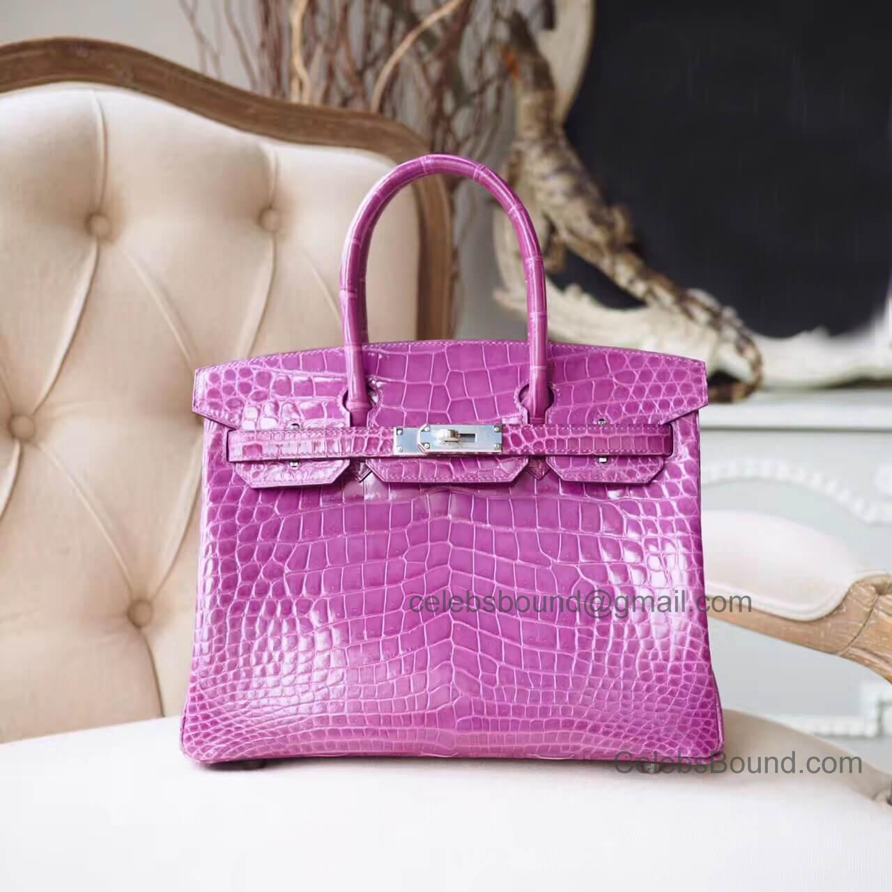 fdd99736f9c3 Copy Hermes Birkin 30 Bag in Violet Shiny Porosus Croc PHW