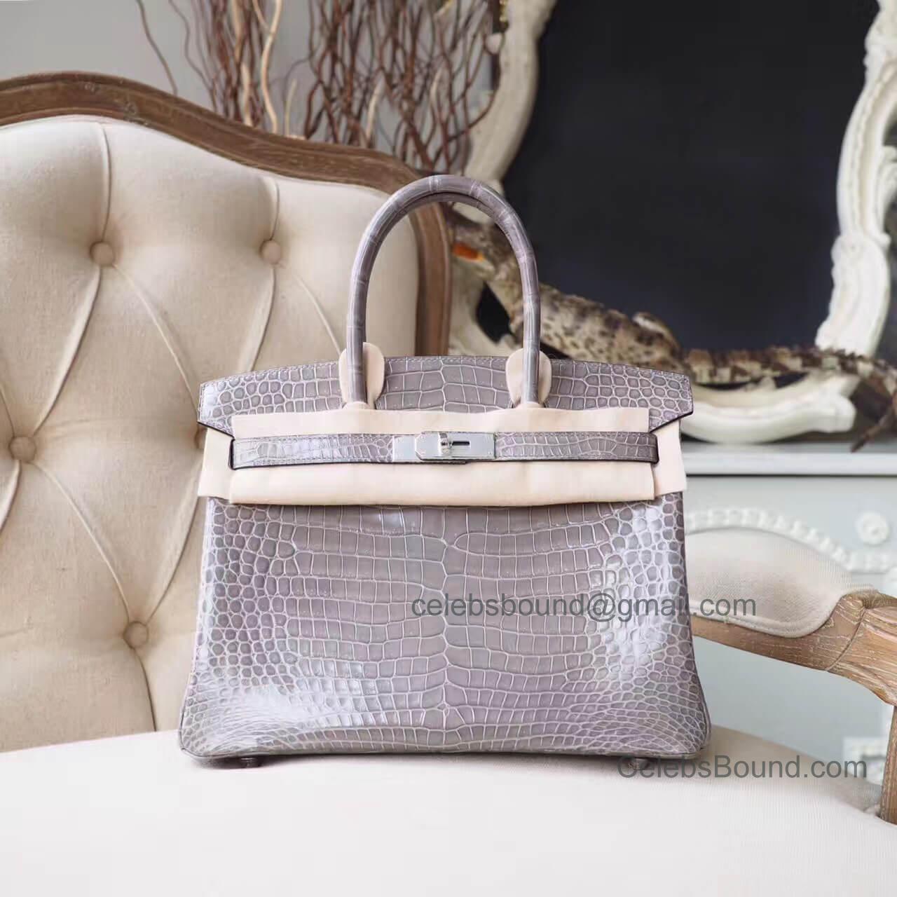 deef11cdbf8 Copy Hermes Birkin 30 Bag in Gris Tourterelle Shiny Porosus Croc PHW -