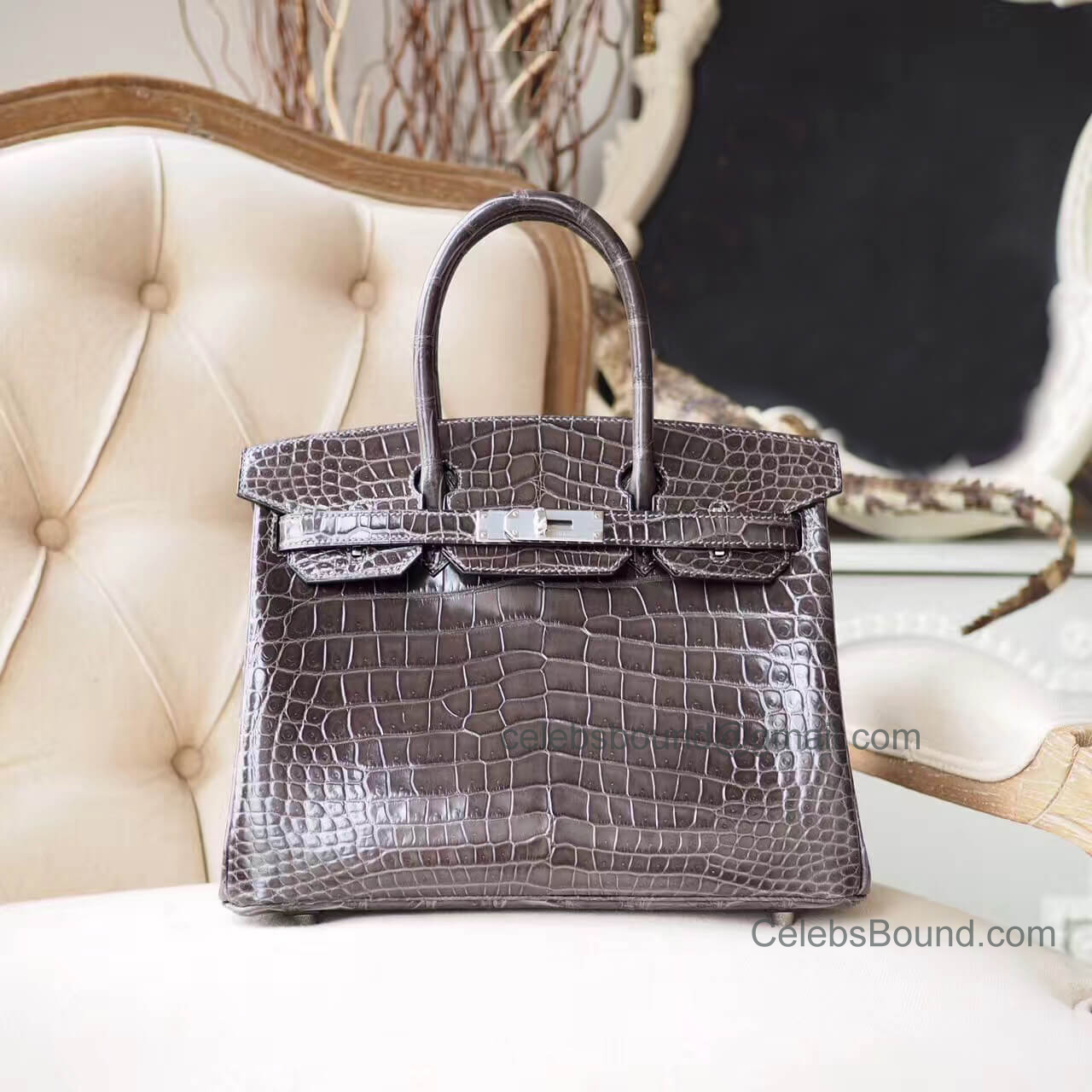 13caca0f2664 Copy Hermes Birkin 30 Bag in ck88 Graphite Shiny Porosus Croc PHW -