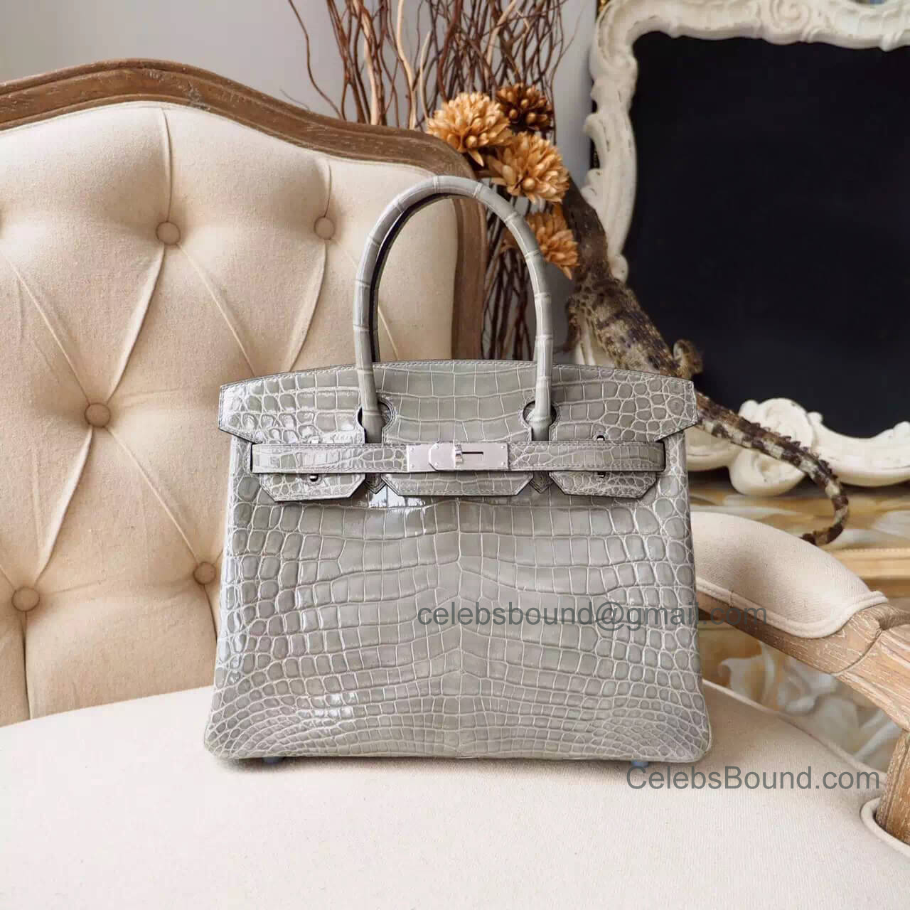 cac8546f62 Copy Hermes Birkin 30 Bag in Gris Tourterelle Shiny Nile Croc PHW