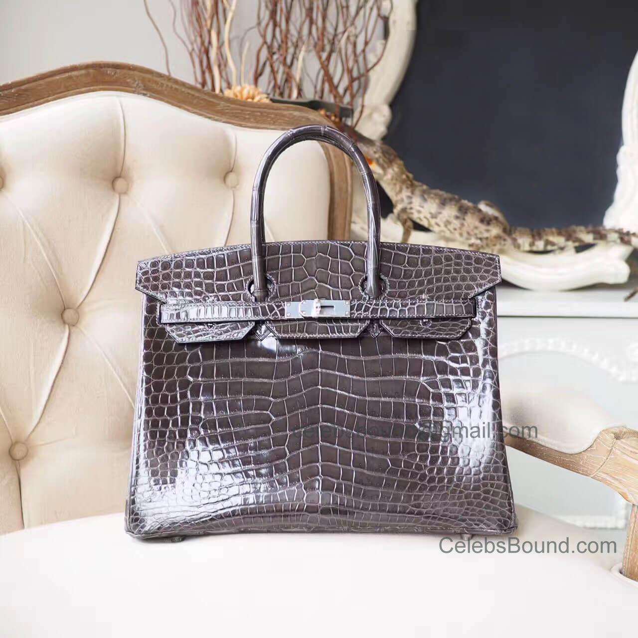96629fcba4d5 Copy Hermes Birkin 35 Bag in cc88 Graphite Shiny Porosus Croc PHW -