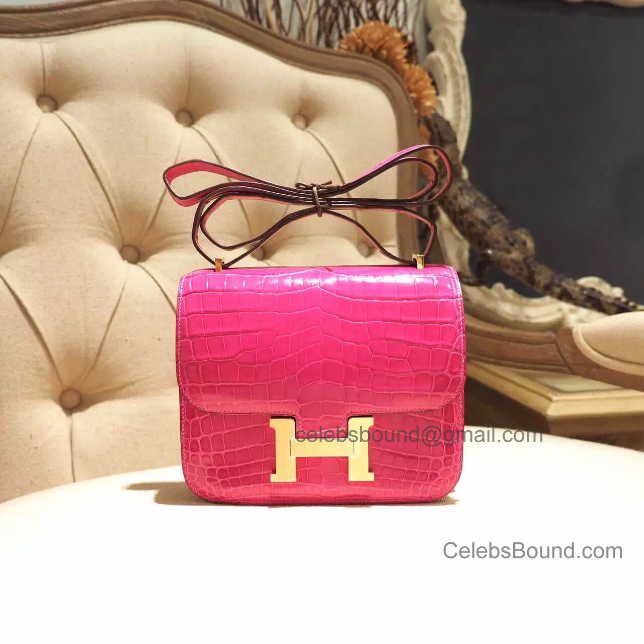 Replica Hermes Mini Constance 18 Bag in 5j Fuschia Pink Shiny Nile Croc GHW