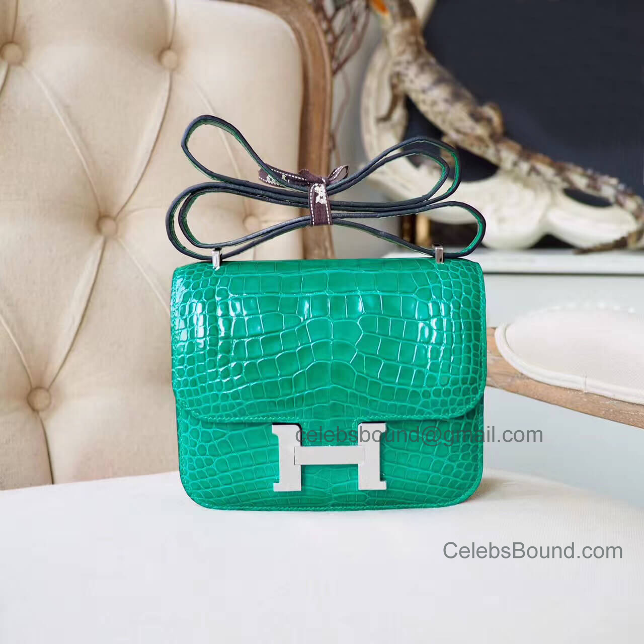 Replica Hermes Mini Constance 18 Bag in 6q Vert Emeraude Shiny Nile Croc PHW