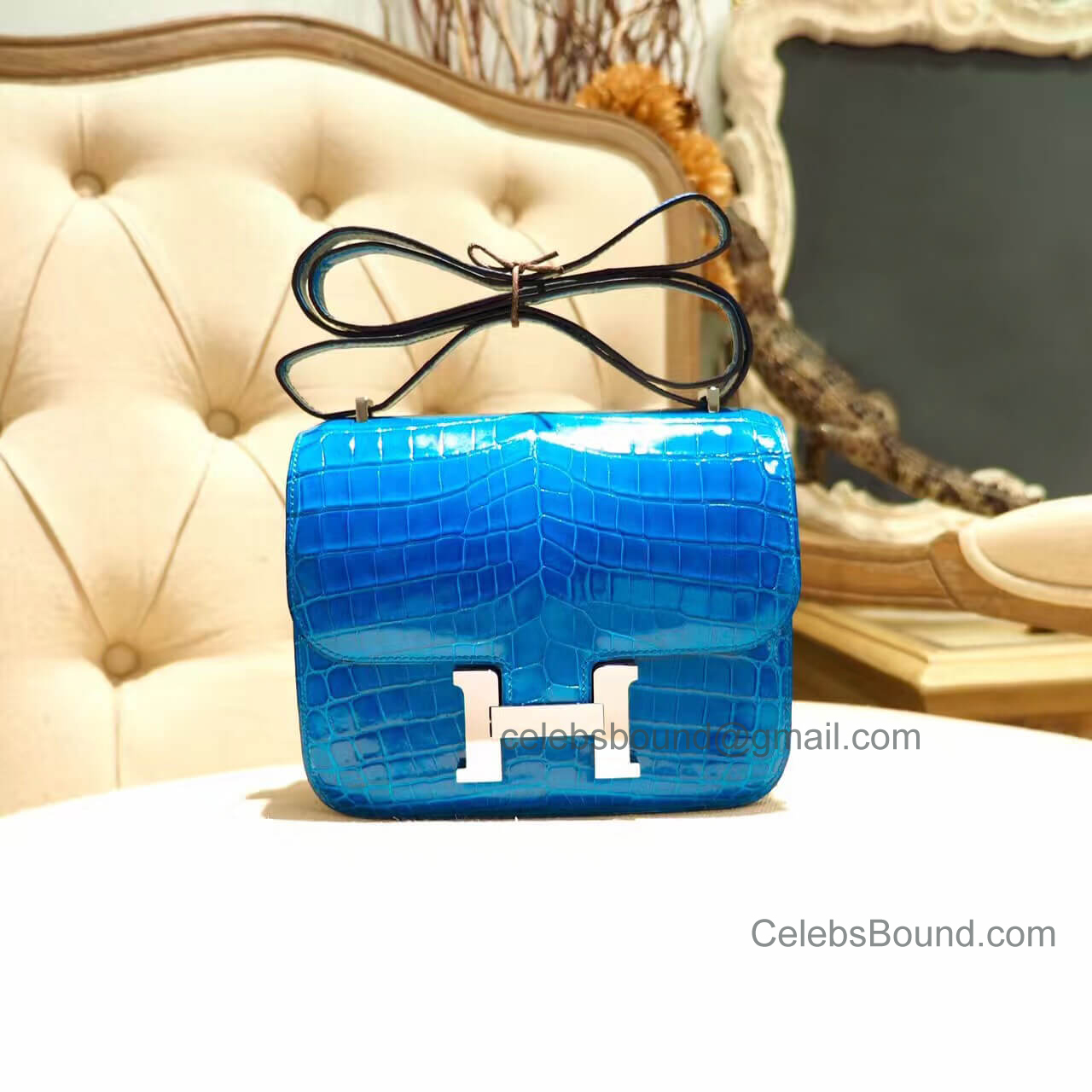 Replica Hermes Mini Constance 18 Bag in 7w Blue Izmir Shiny Nile Croc PHW