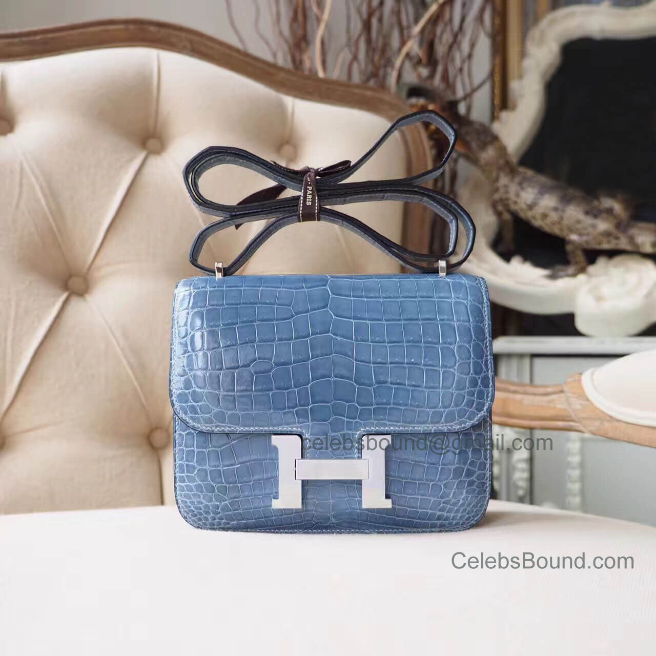 Replica Hermes Mini Constance 18 Bag in n7 Blue Tampete Shiny Nile Croc PHW