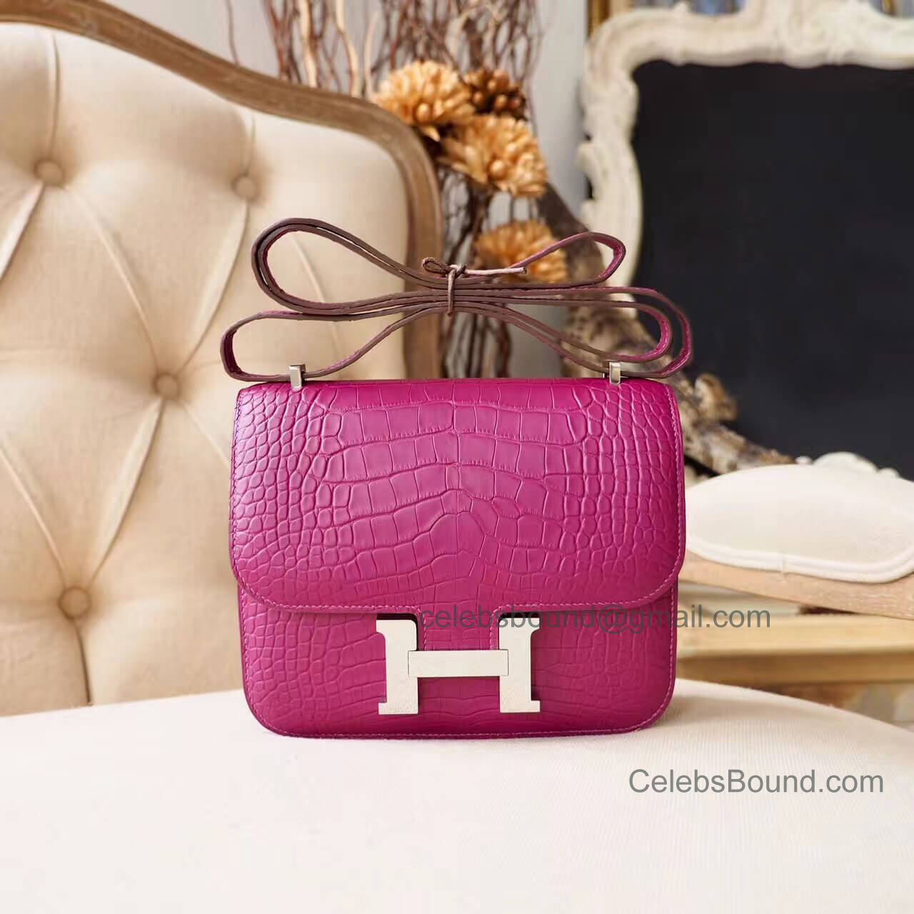 Replica Hermes Mini Constance 18 Bag in 5h Cyclamen Matte Alligator PHW