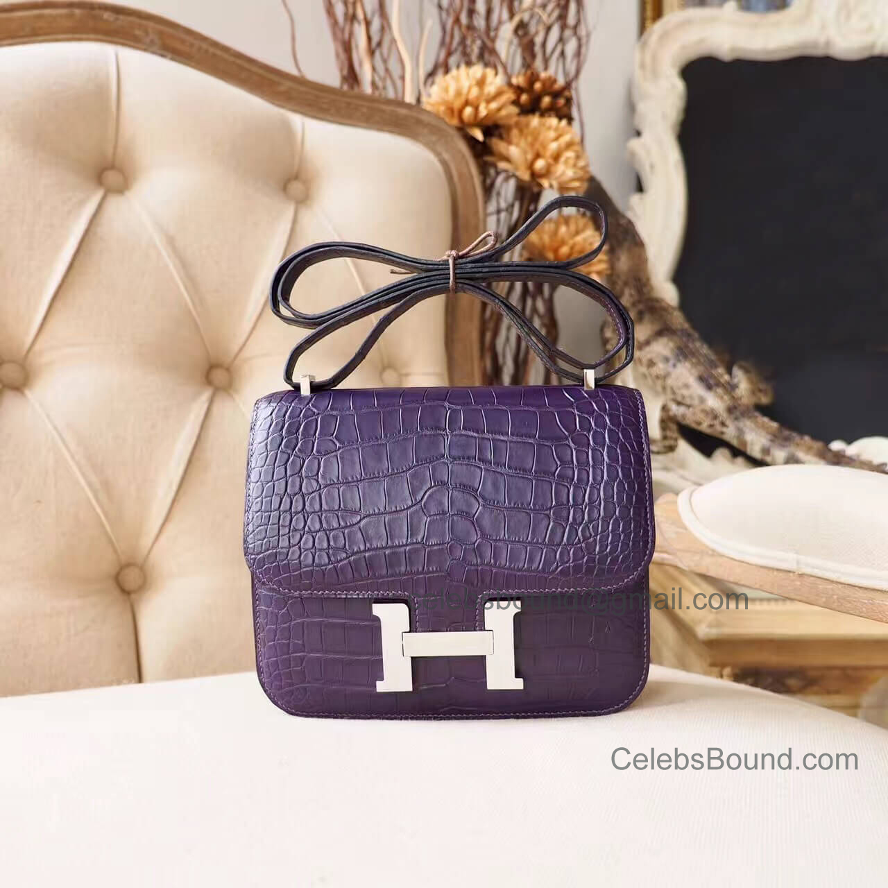 Replica Hermes Mini Constance 18 Bag in 9k Iris Matte Alligator PHW