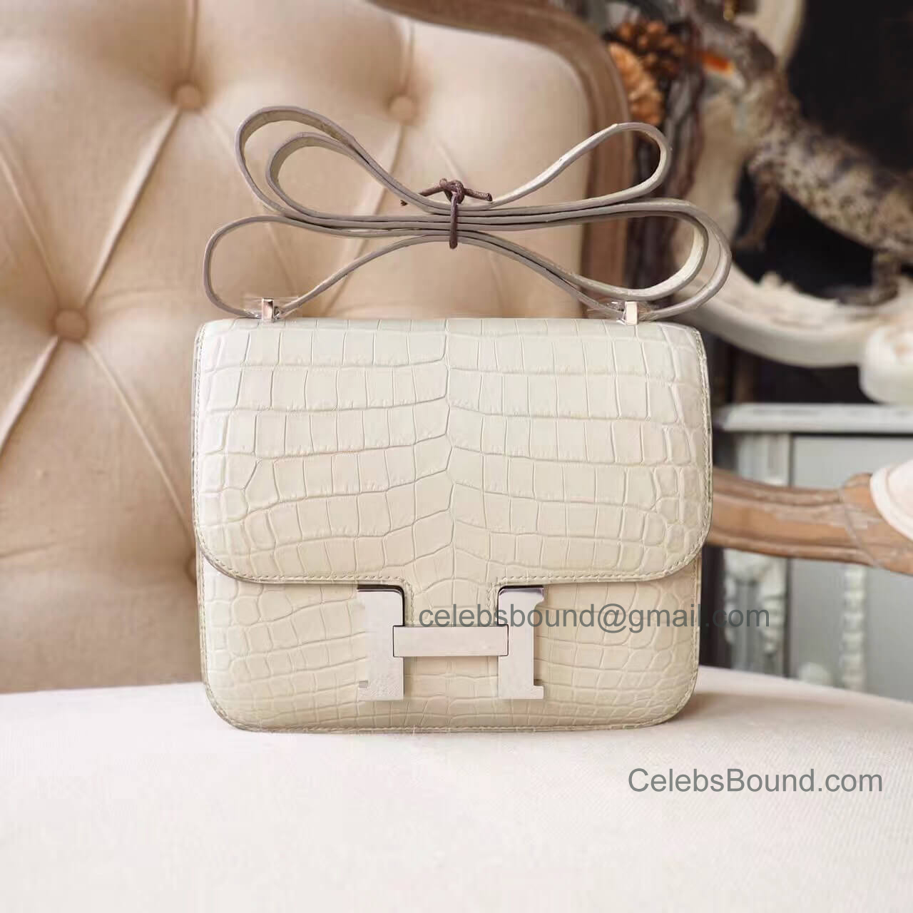 Replica Hermes Mini Constance 18 Bag in 8L Beton Matte Nile Croc PHW
