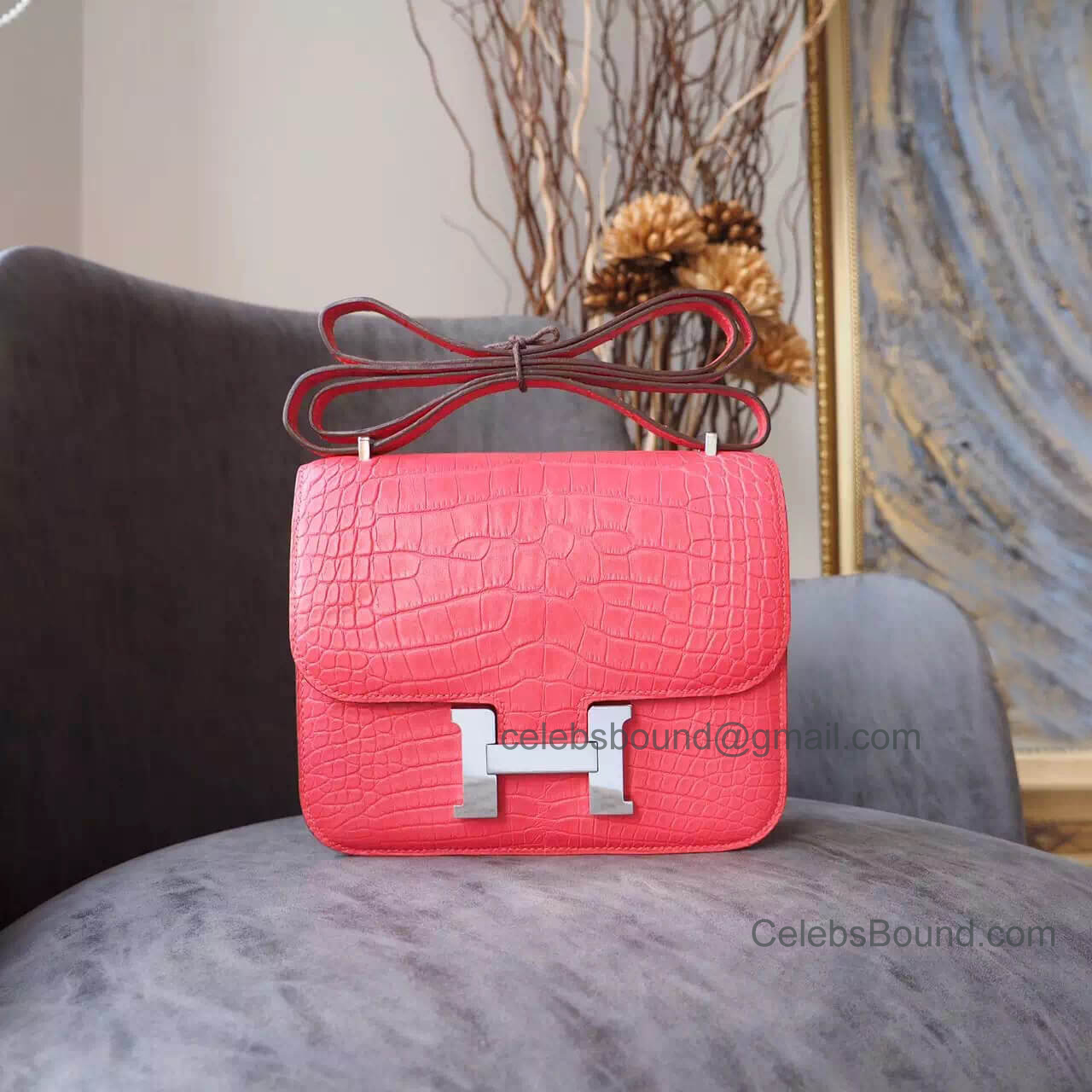 Replica Hermes Mini Constance 18 Bag in a5 Bougainvillea Matte Nile Croc PHW