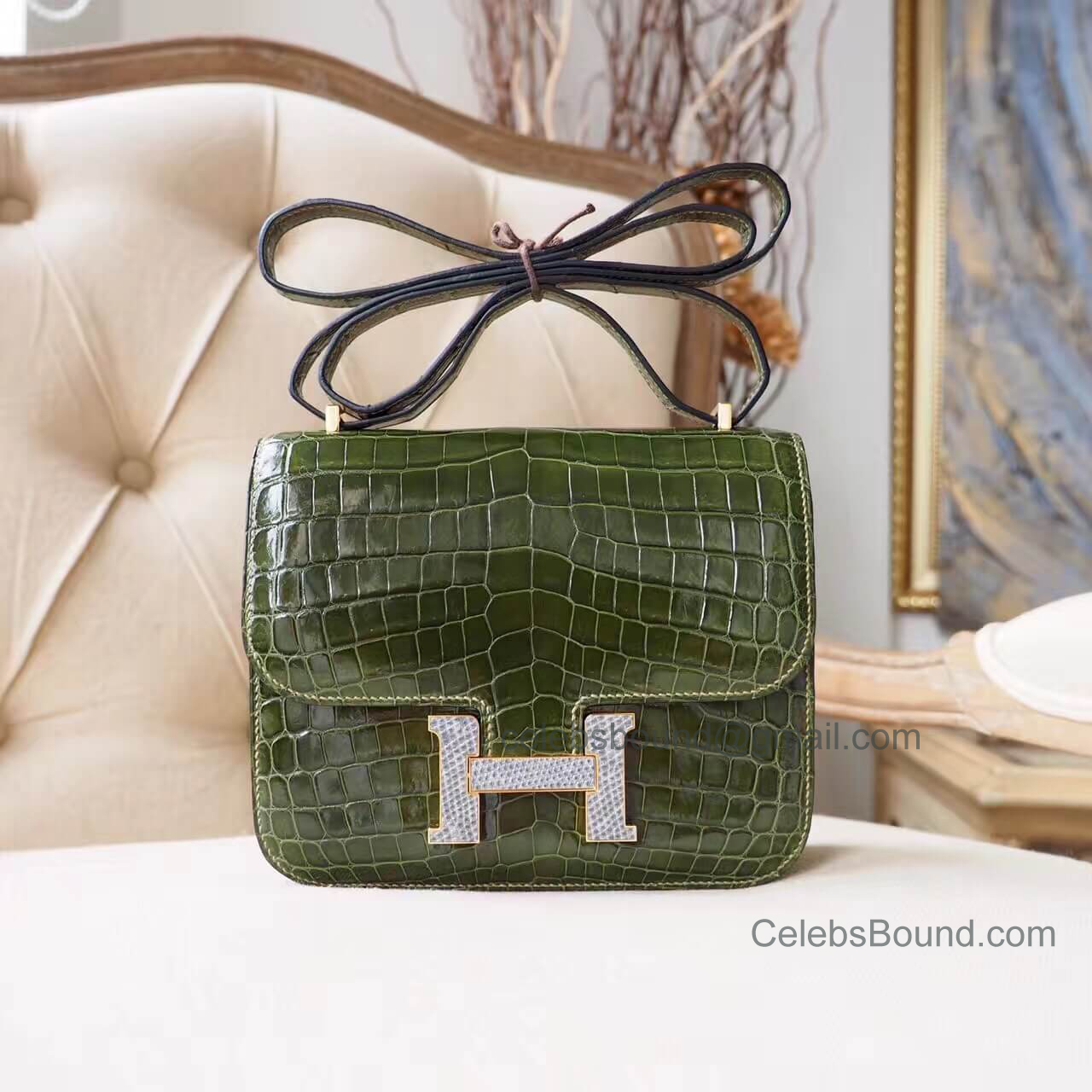 Hermes Mini Constance 18 in Vert Veronese Shiny Nile Croc Lizard Buckle GHW