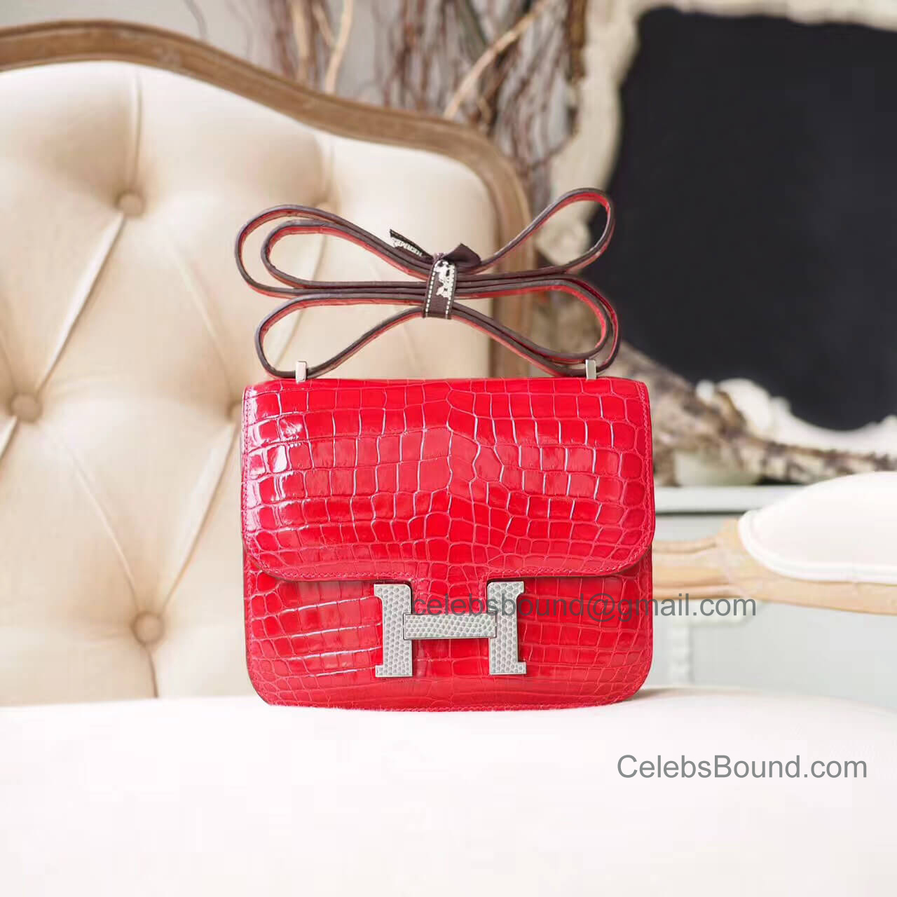 Hermes Mini Constance 18 in 9m Sanguine Shiny Nile Croc Lizard Buckle GHW