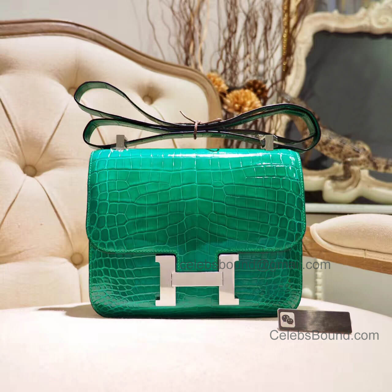 Replica Hermes Constance 23 Bag in 6q Vert Emeraude Shiny Nile Croc PHW