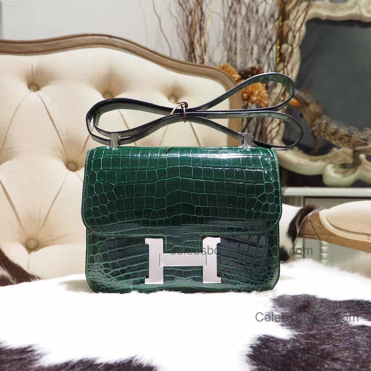 Replica Hermes Constance 23 Bag in ck67 Vert Fonce Shiny Nile Croc PHW