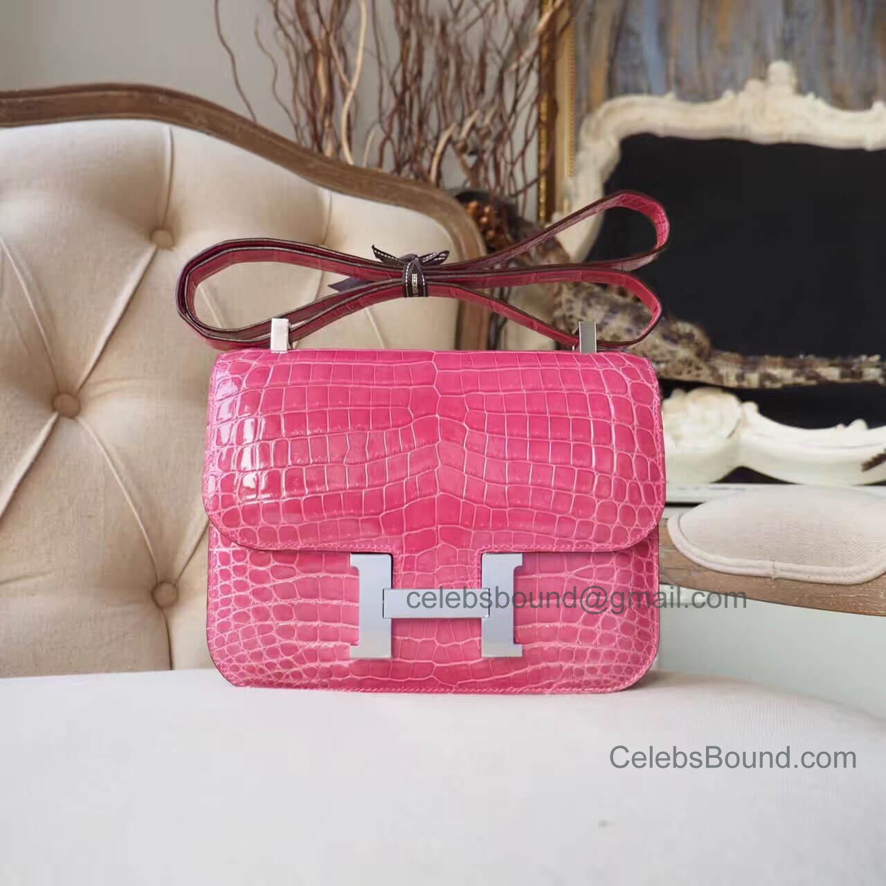 Replica Hermes Constance 23 Bag in e5 Rose Tyrien Shiny Nile Croc PHW