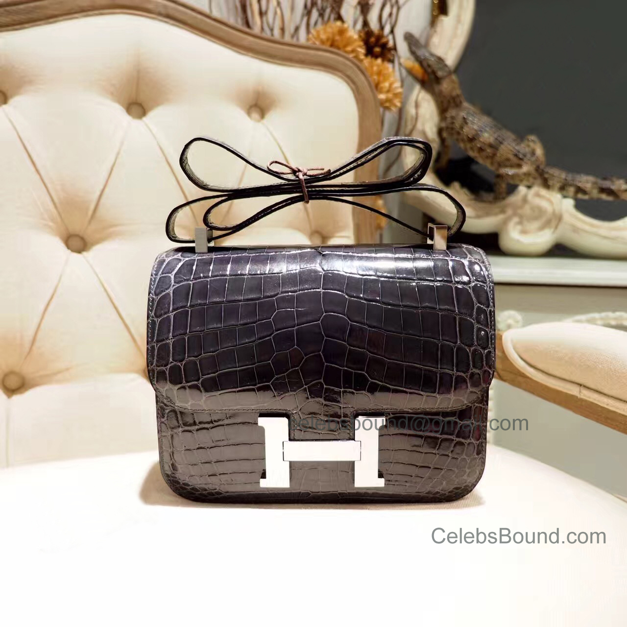 Replica Hermes Constance 23 Bag in ck88 Graphite Shiny Nile Croc PHW