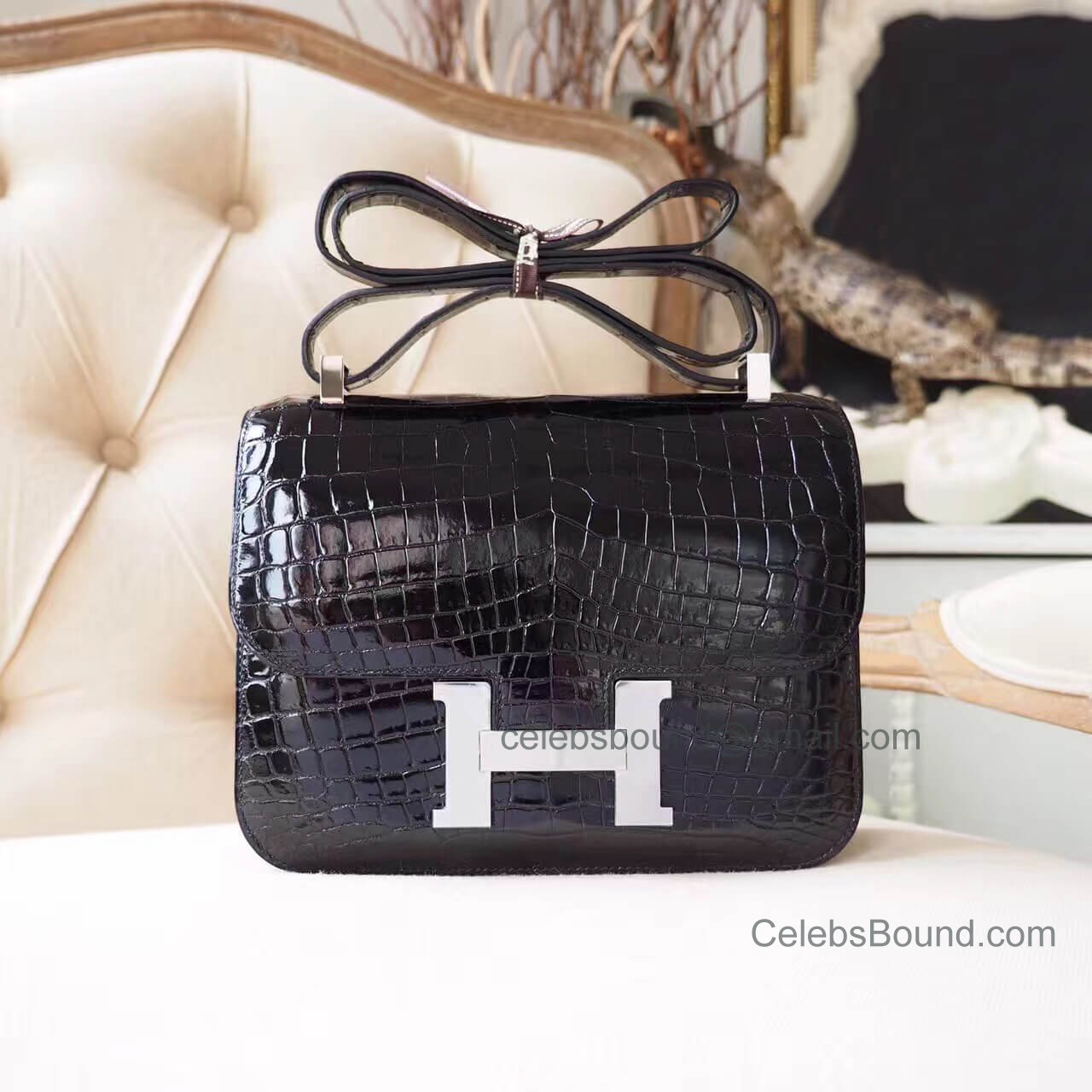 Replica Hermes Constance 23 Bag in ck89 Noir Shiny Nile Croc PHW