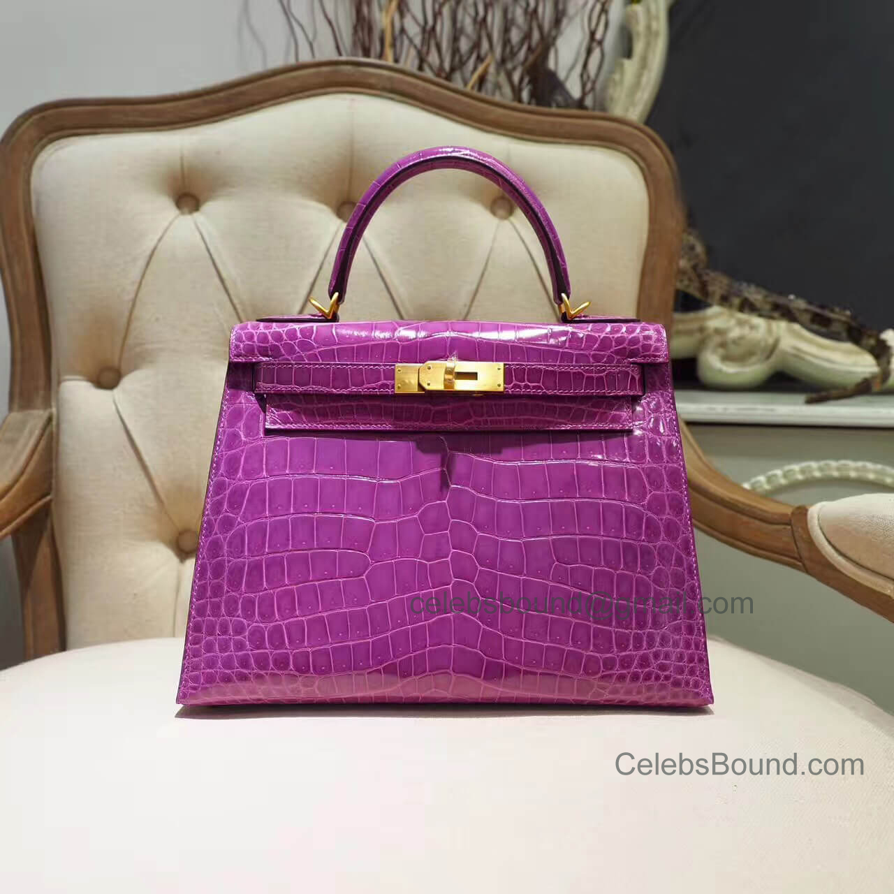 Replica Hermes Kelly 28 Bag in 5c Violet Shiny Porosus Croc GHW