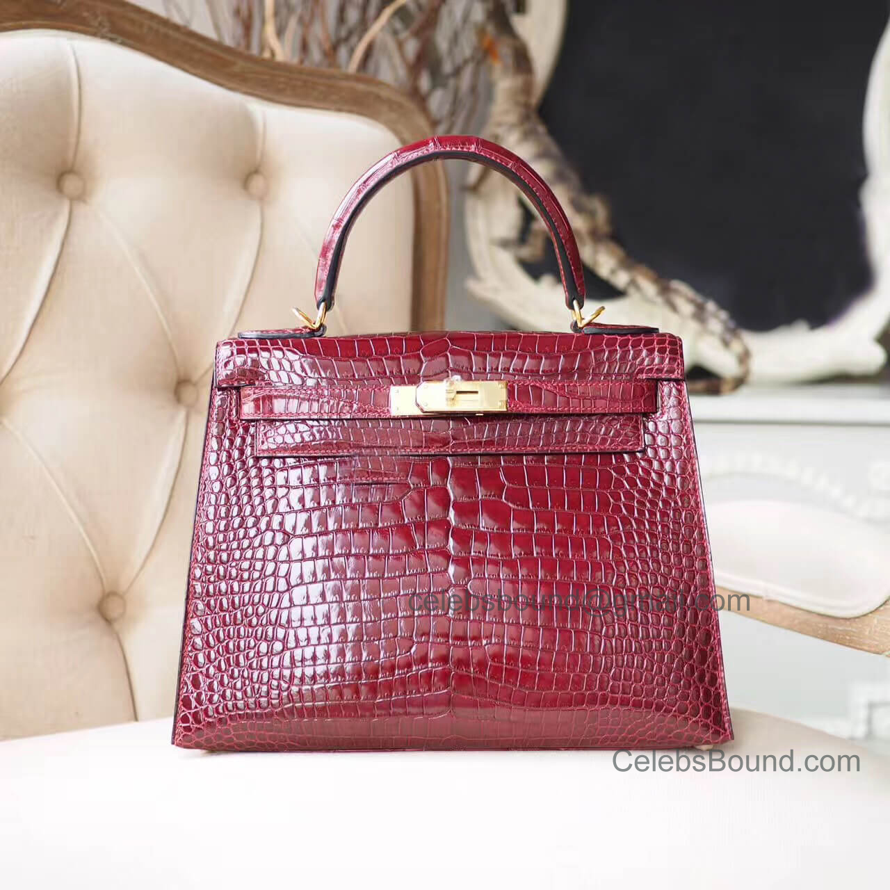 Replica Hermes Kelly 28 Bag in ck57 Bordeaus Shiny Porosus Croc PHW